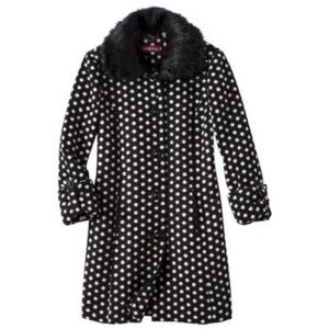 Vintage Merona Women's polka dot Luxe coat with faux fur removable collar size M